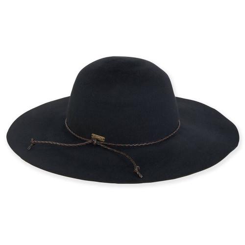 """Adora Long Haired Wool Felt Floppy w/ Faux Braid Leather Trim 3"""" Brim Hat AD694"""