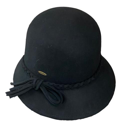 """Adora Wool Felt Cloche w/ Self Braided Trim 2.5"""" Brim Hat AD978"""