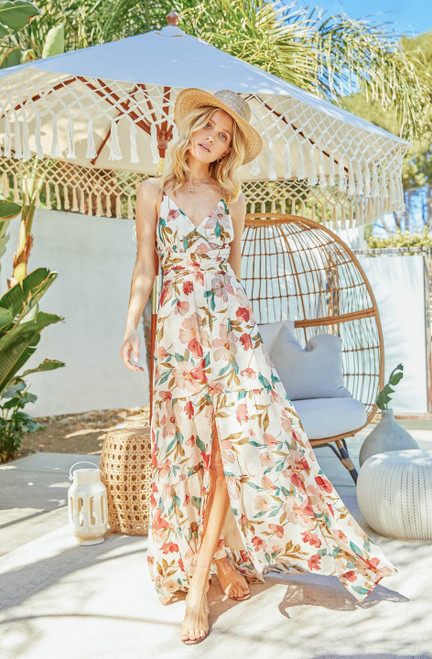 ASTR Frolic Maxi Dress ACDR100504 Cream Ruby Floral (FINAL SALE)