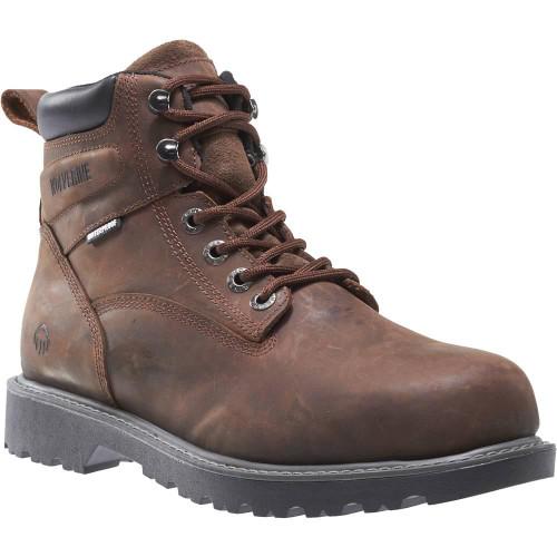 """Wolverine Men's Floorhand Waterproof Steel-Toe 6"""" Work Boot W10633 Dark Brown"""