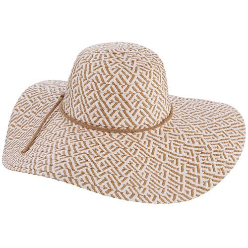 Tropical Trends Shea Two Tone Floppy Paper Braid Pattern Big Brim Hat LP230