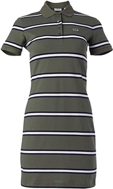 Lacoste Women's Striped Stretch Cotton Polo Dress EF7351 Aucuba/Navy