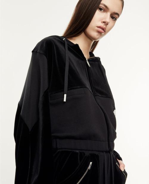 The Kooples Dual Fabric Zipper Hood Sweatshirt FSWE22008S