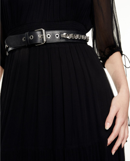 The Kooples Classic Chain Leather Belt