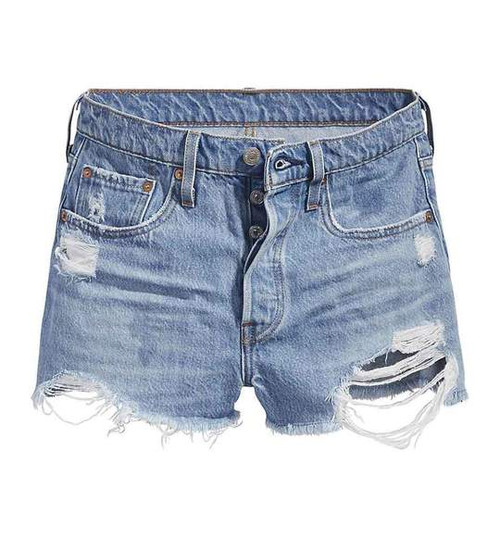 Levi's Women 501 High Rise Button Fly Destroyed Cutoff Short Sansome Straggler Light Wash