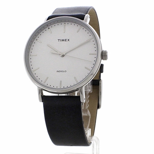 Timex Fairfield Full Size Black Leather Watch