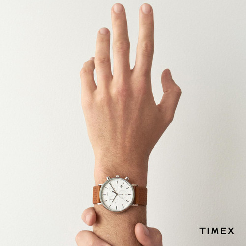 Timex Fairfield Full Size Brown Leather Watch