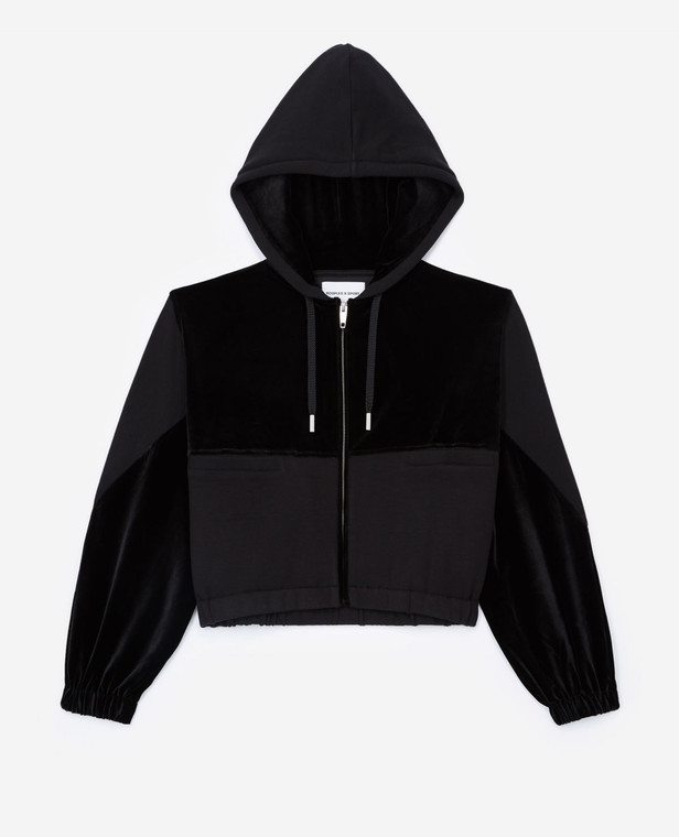 The Kooples Dual Fabric Zipper Hood Sweatshirt FSWE22008S