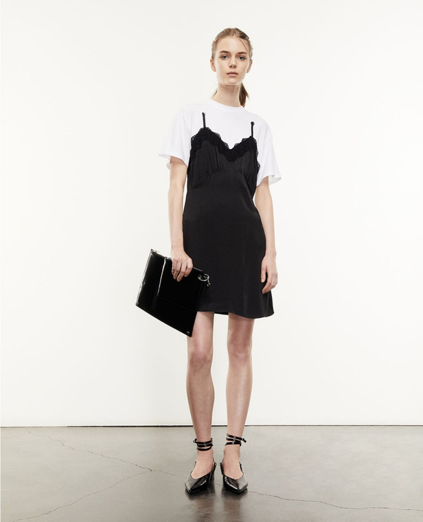 The Kooples Black White 2-IN-1 Babydoll T-Shirt Dress