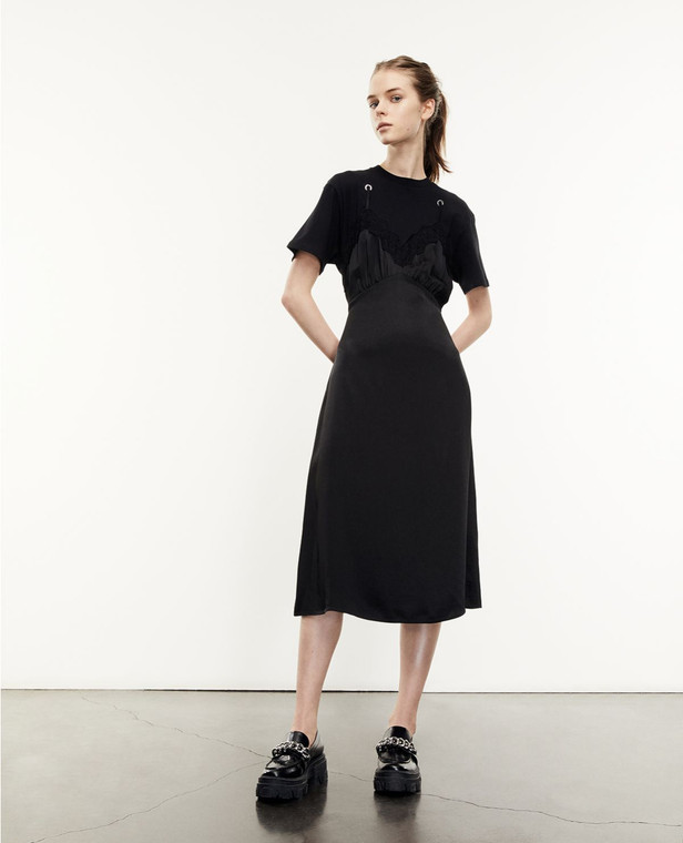 The Kooples Long Black Babydoll T-Shirt Dress