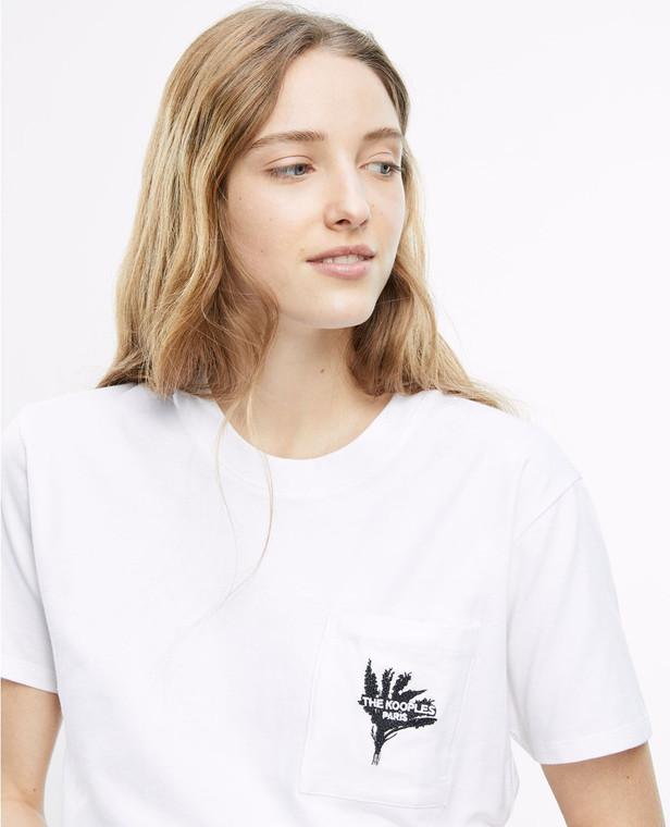 The Kooples White Organic Cotton Pocket Embroidery Logo T-Shirt