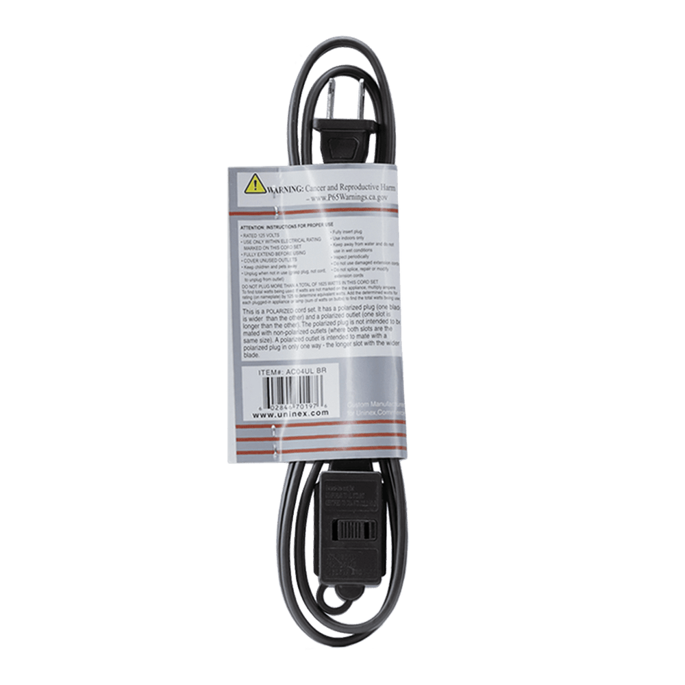 AC04UL BR, 4ft Household Extension Cord