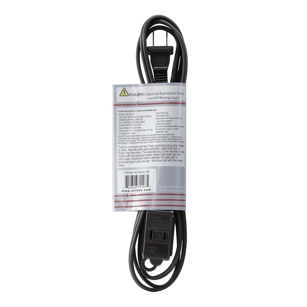 AC06UL BR, 6ft Household Extension Cord