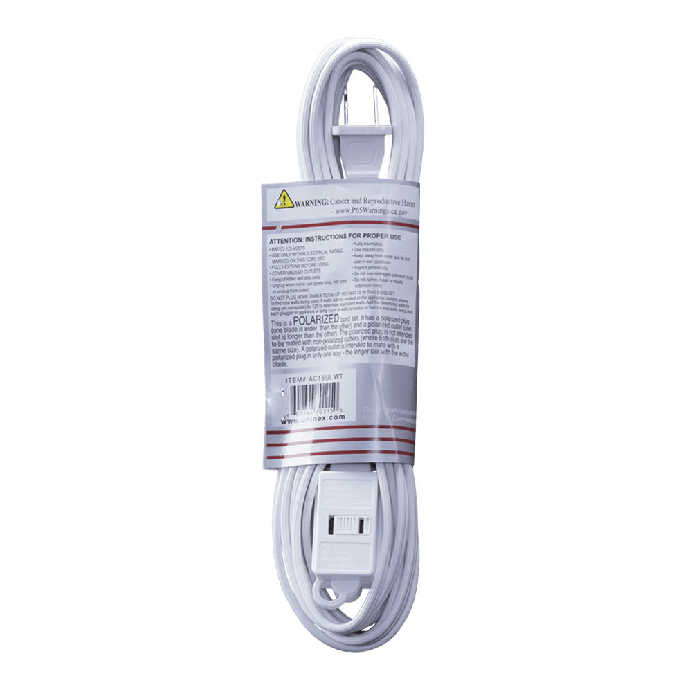 AC15UL WT, 15ft Household Extension Cord