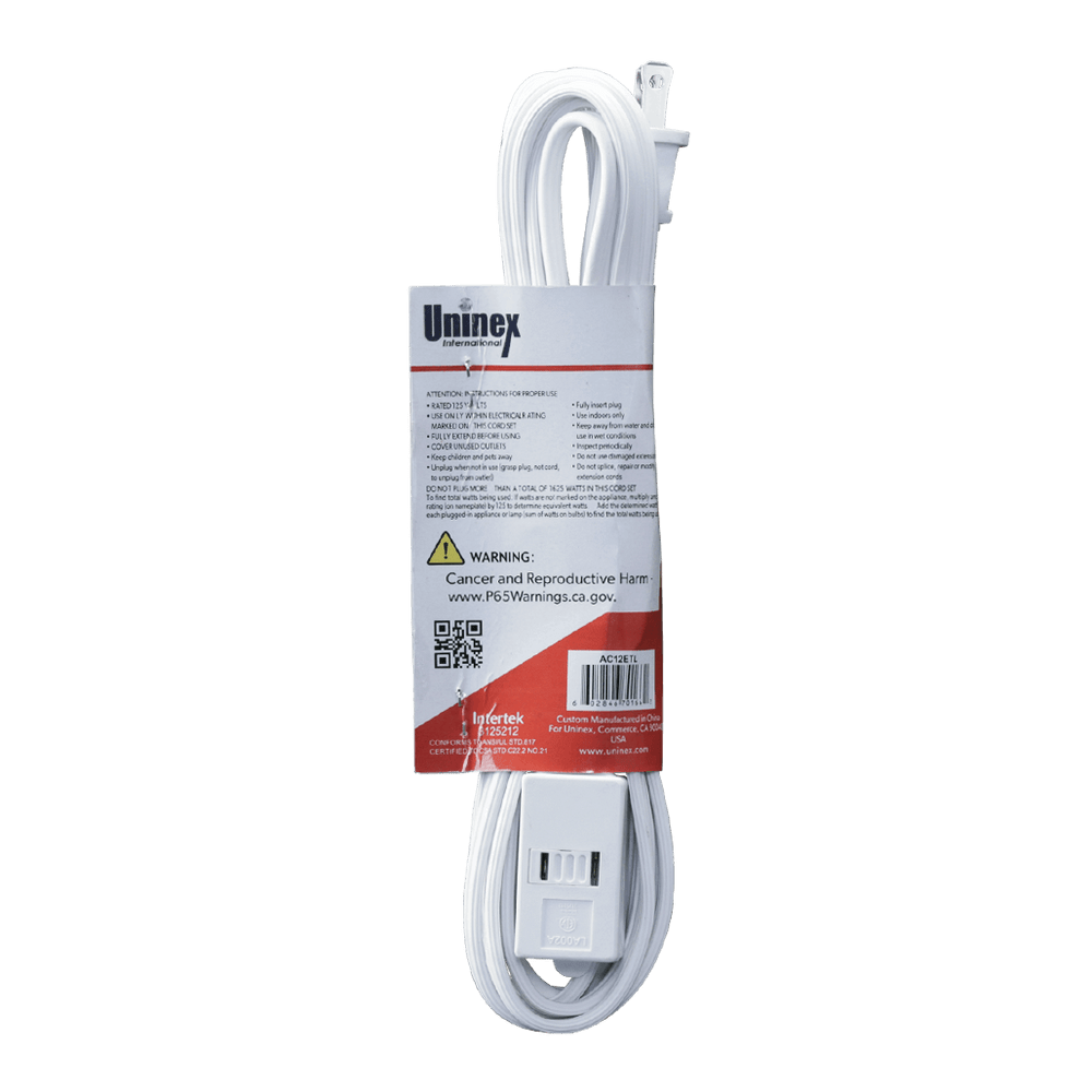 AC12ETL, 12ft Household Extension Cord