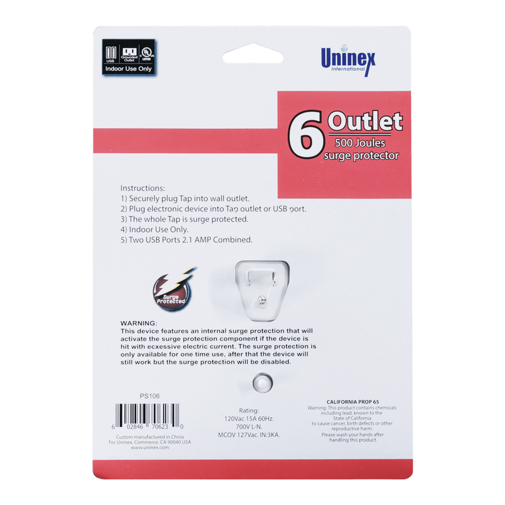 PS106, Swivel 6 Outlet 500 Joules Surge Protector