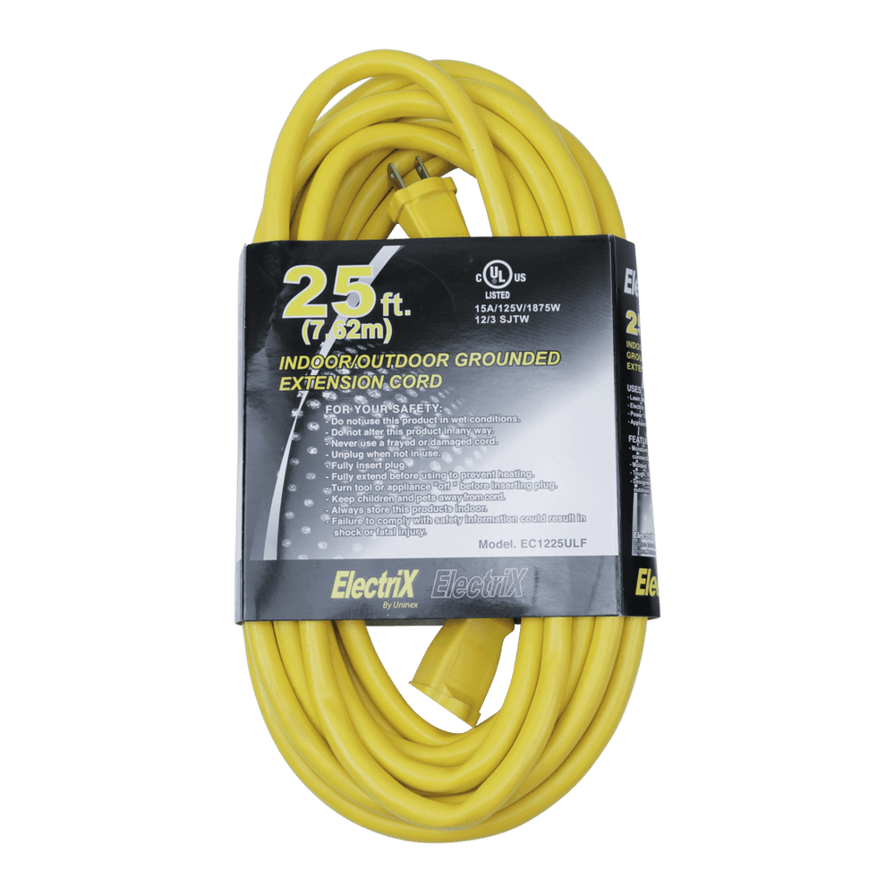 EC1225ULF, 25ft Indoor/Outdoor Grounded Extension Cord