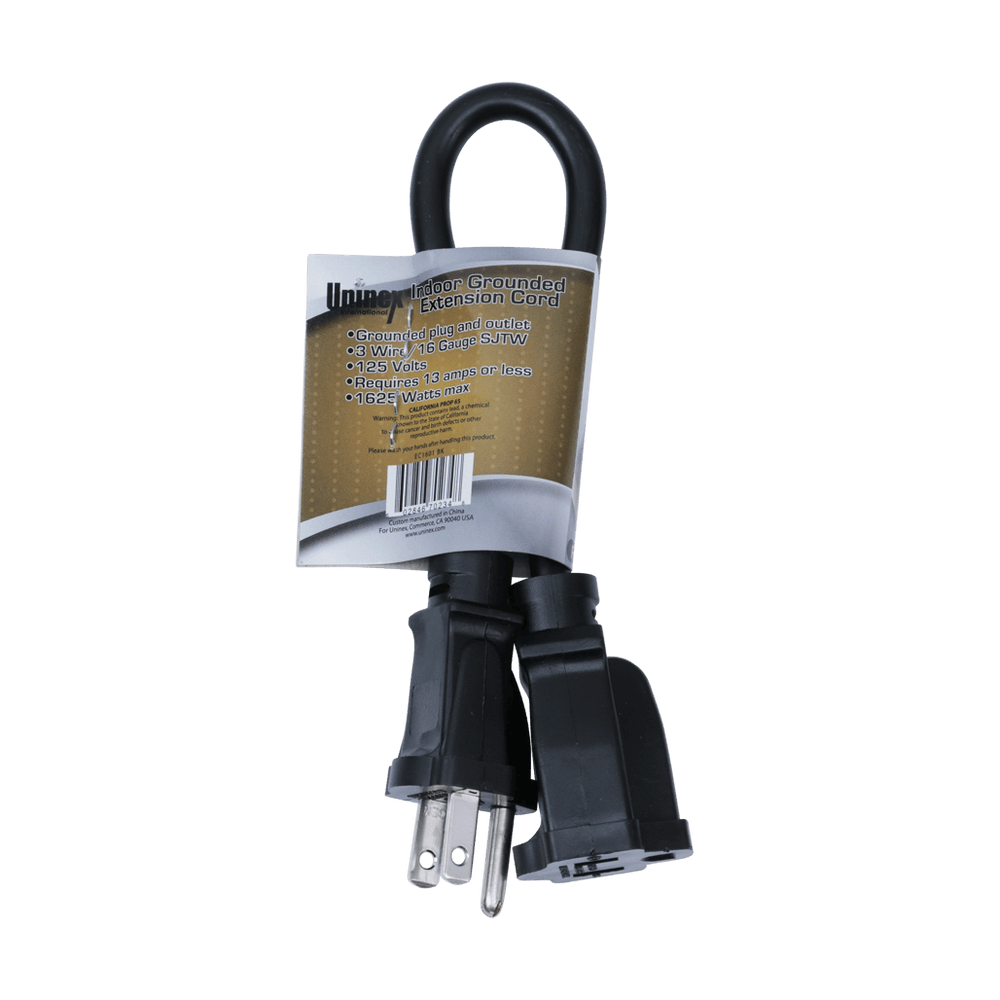 EC1601 BK, 1ft Indoor Grounded Extension Cord