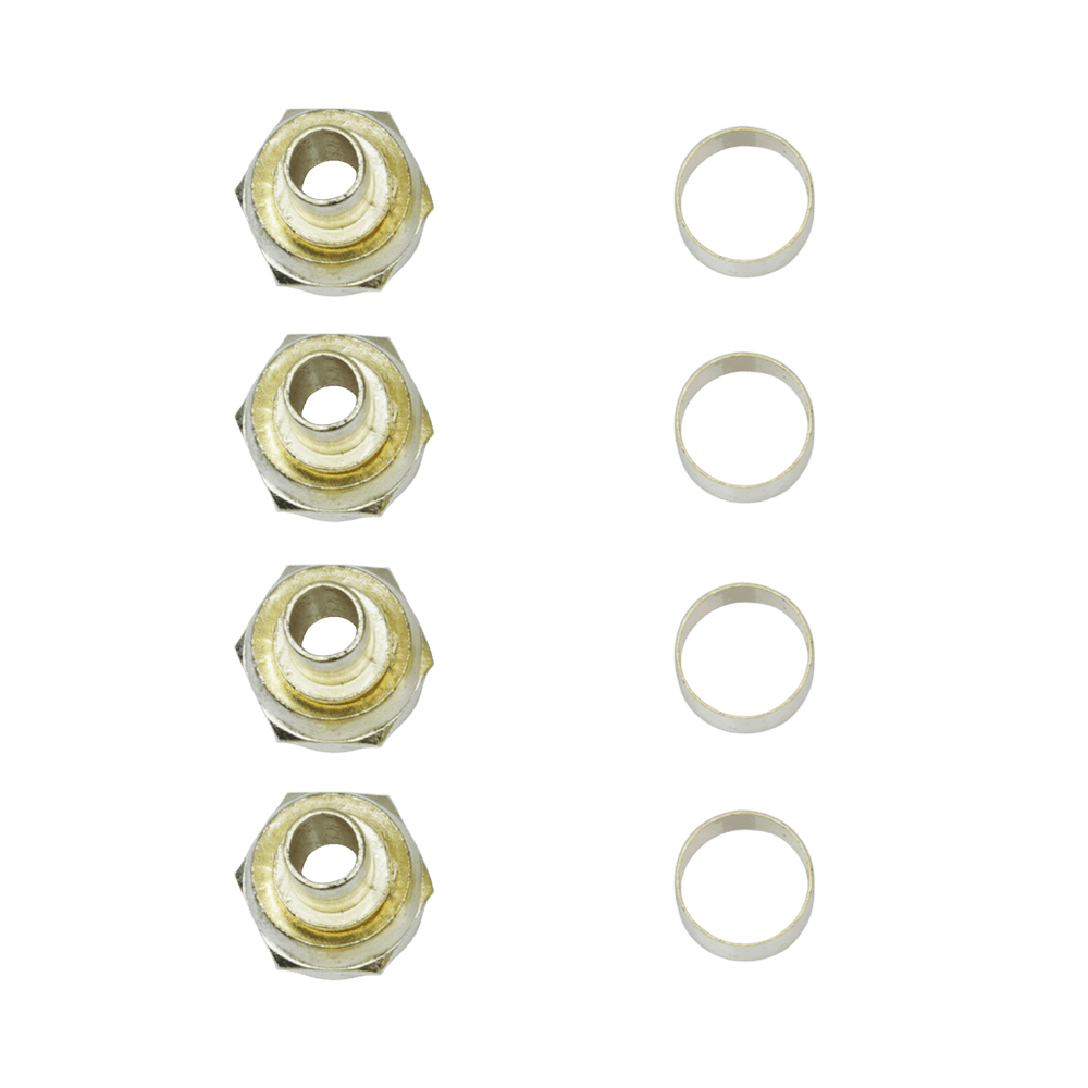 "FB01G, 4 Pack Crimp-On ""F"" Type Connector with 1/4"" Ring"