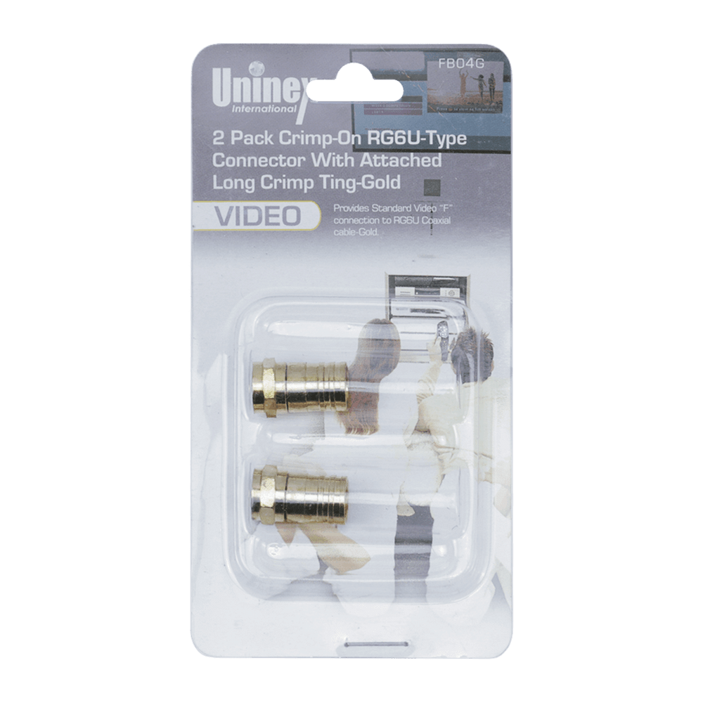 FB04G, 2 Pack Crimp-On RG6U-Type Connector with Attached Long Crimp Ting-Gold