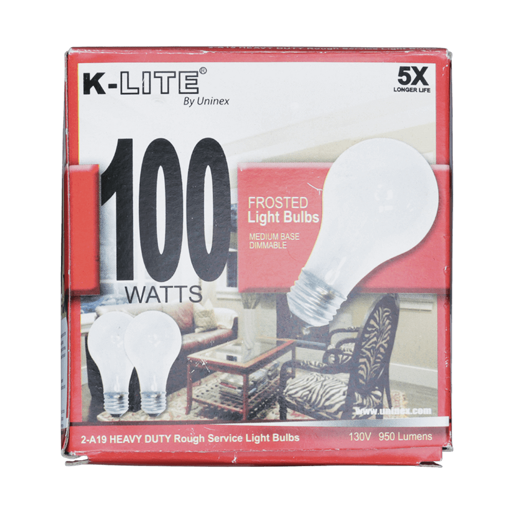 KL11002RS, 2-Pack 100W Frosted Light Bulbs Medium Base Dimmable
