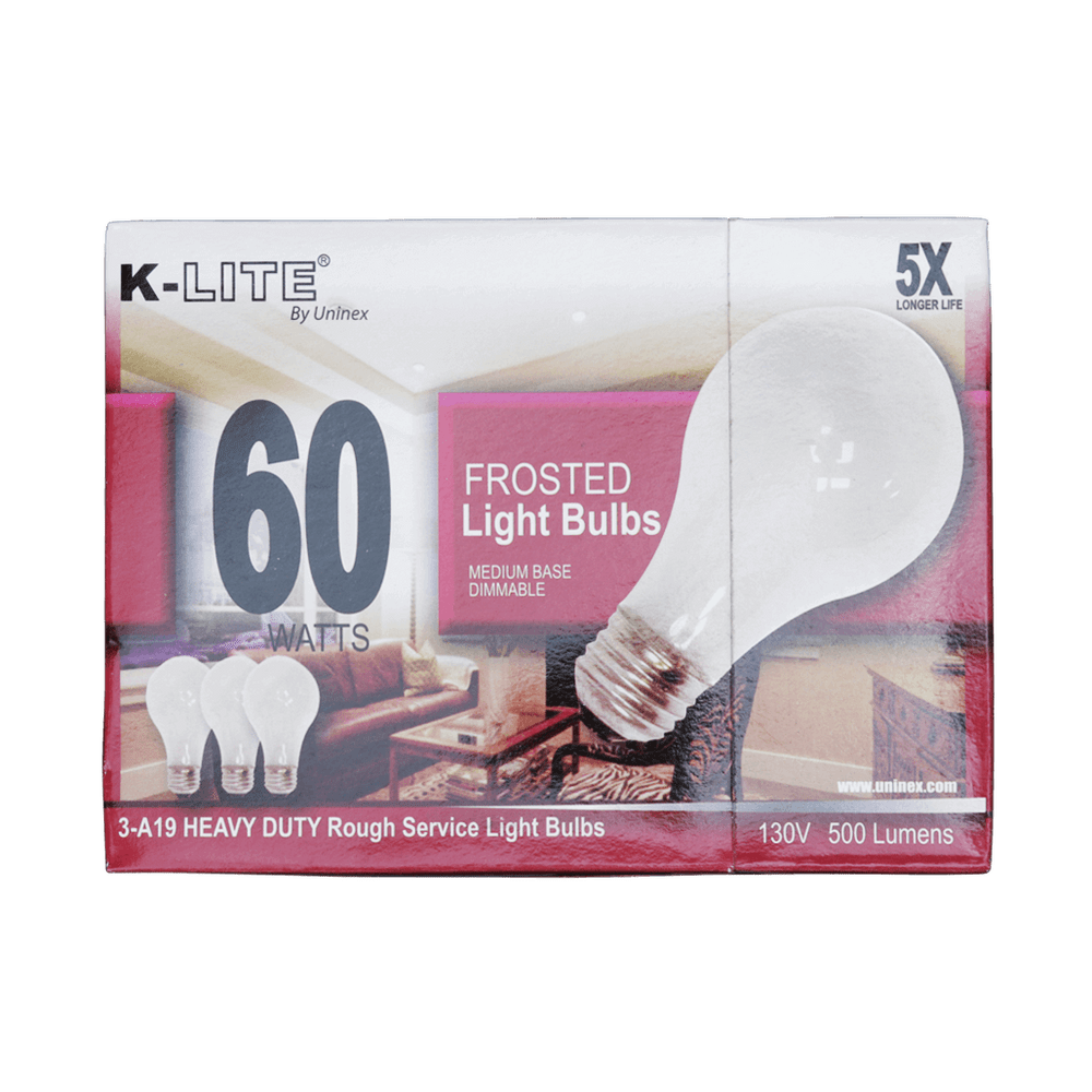 KL11603RS, 3-Pack 60W Frosted Light Bulbs Medium Base Dimmable