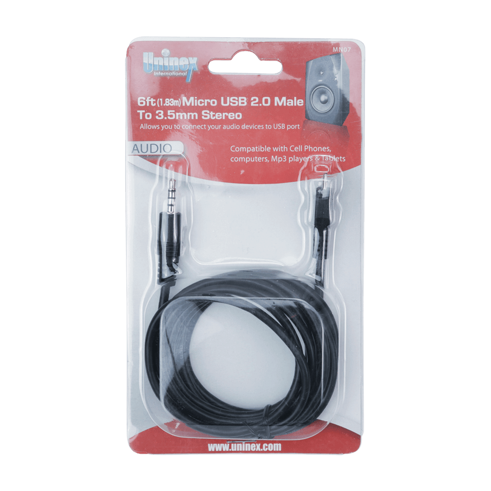 MN07, 6ft (1.83m) Micro USB 2.0 Male to 3.5mm Stereo