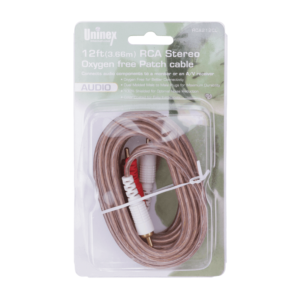 RCA212CL, 12ft (3.66m) RCA Stereo Oxygen Free Patch Cable