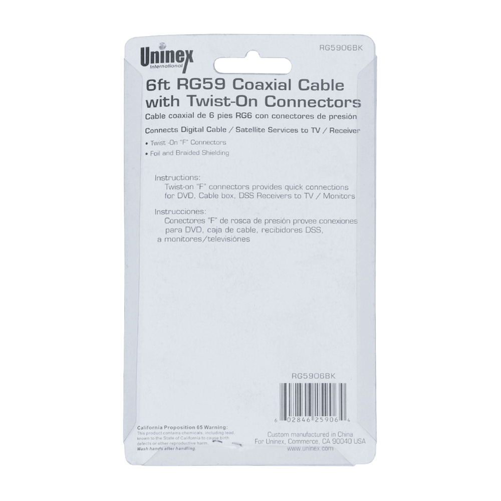 RG5906BK BC, 6ft RG59 Coaxial Cable with Twist-On Connectors