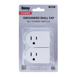 PS27-2, Grounded Wall Tap w/ Power Switch