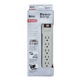 PS09S-6, 6 Outlet Power Strip with Surge Protection
