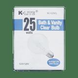 KL1225CL, 25W Bath & Vanity Clear Bulb G25