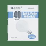 KL1240WH, 40W Bath & Vanity White Bulb G25