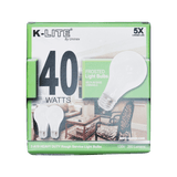 KL11402RS, 2-Pack 40W Frosted Light Bulbs Medium Base Dimmable