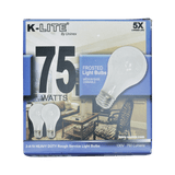KL11752RS, 2-Pack 75W Frosted Light Bulbs Medium Base Dimmable