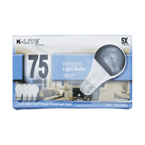 KL11754RS, 4-Pack 75W Frosted Light Bulbs Medium Base Dimmable