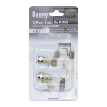 FB02G, 2 Pack Twist-On RG59 Cable Connector