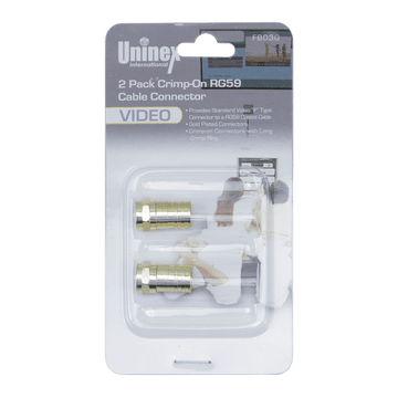 FB03G, 2 Pack Crimp-On RG59 Cable Connector