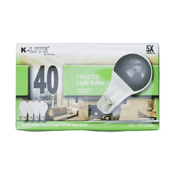 KL11404RS, 4-Pack 40W Frosted Light Bulbs Medium Base Dimmable