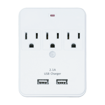 PS103, 3 Outlet Surge Protected Tap with 2 USB Charging Ports (2.1A)