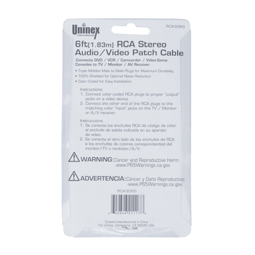 RCA306GBC, 6ft (1.83m) RCA Stereo Audio/Video Patch Cable
