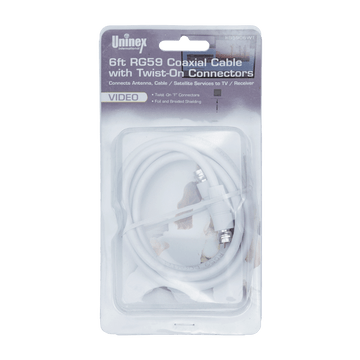 RG5906WT BC, 6ft RG59 Coaxial Cable with Twist-On Connectors