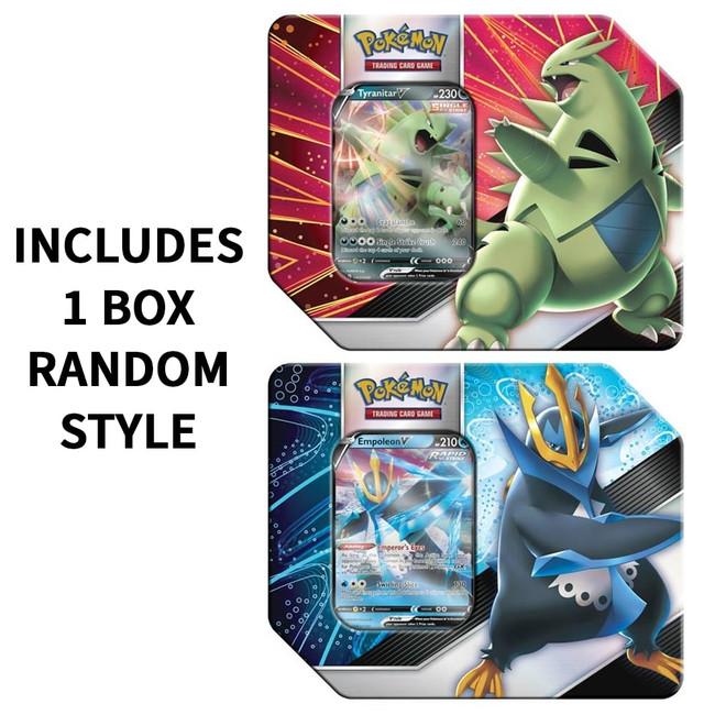 Pokemon V Strikers Tin Tyranitar V or Empoleon V Tin (Random Style)