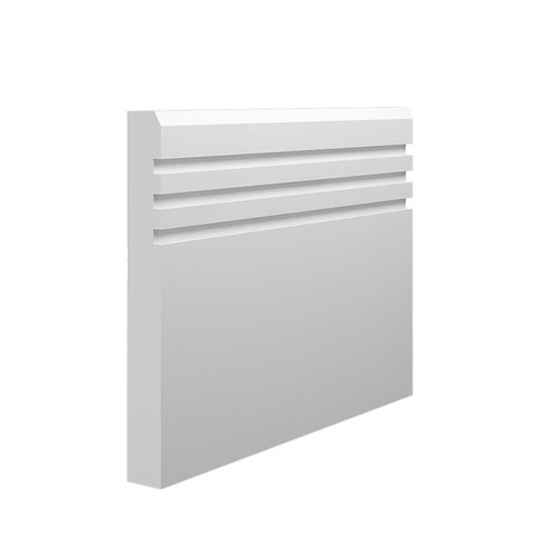 Grooved 3 Chamfered MDF Skirting Board - 145mm x 18mm HDF