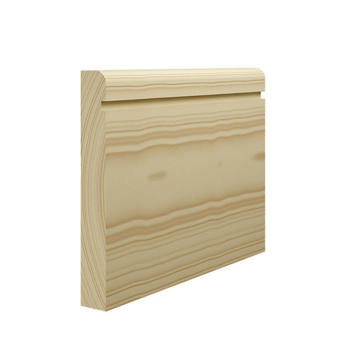 Grooved 1 Bullnose Pine Skirting Board - 144mm x 21mm