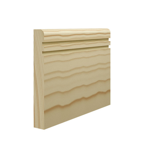 Grooved 2 Bullnose Pine Skirting Board - 144mm x 21mm