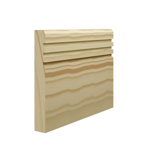 Grooved 3 Chamfered Pine Skirting Board - 144mm x 21mm