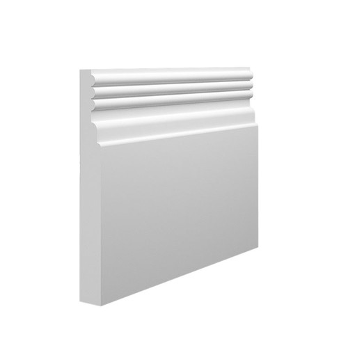 Reeded 3 MDF Skirting Board Sample - 145mm x 18mm HDF