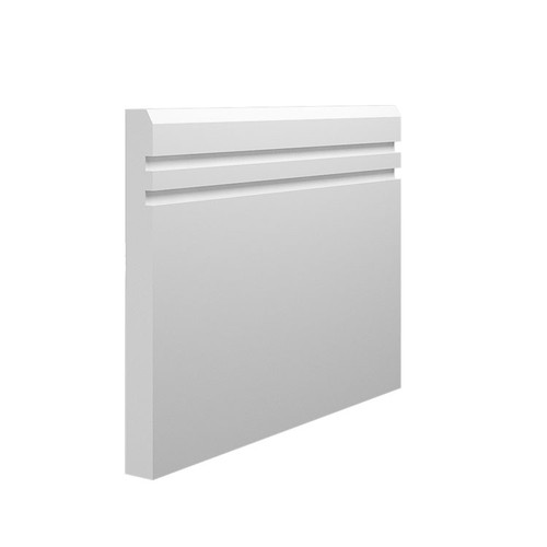 Grooved 2 Chamfered MDF Skirting Board - 145mm x 15mm HDF