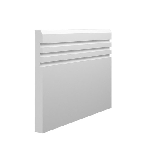 Grooved 3 Chamfered MDF Skirting Board - 145mm x 15mm HDF
